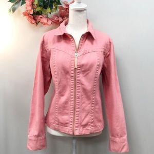 CABi. Pink Denim Jean Jacket Large